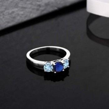 Simulated Sapphire Aquamarine Sterling Silver in Women's Statement Rings