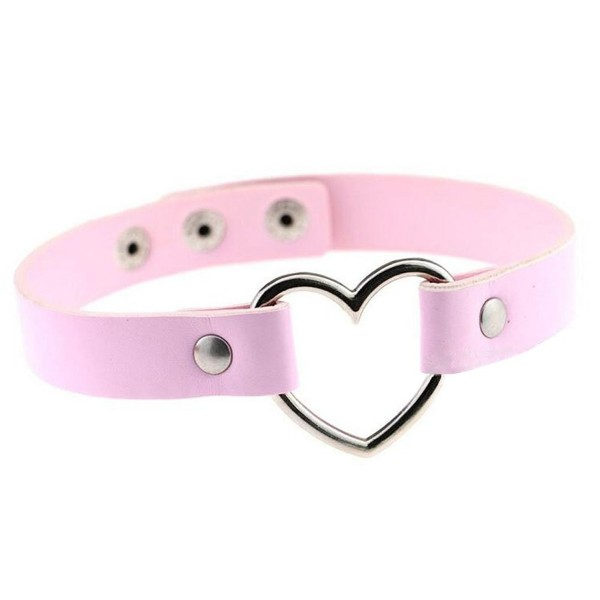 Freedi Women Girls Love Heart Choker PU Leather Collar Punk Goth Fans Cool Chain Necklace - Pink - CD17XSON5ZI