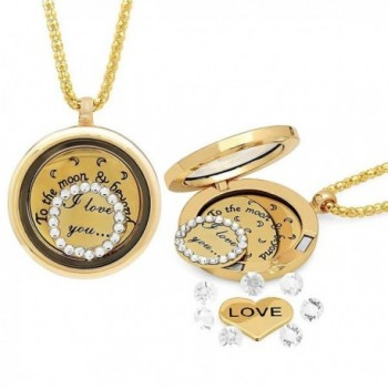 I Love You To The Moon & Back Locket Yellow Gold Tone Necklace - CP11X54OFCJ