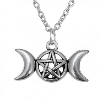 Antique Silver Tone Wiccan Triple Moon Pendant Goddess Pentacle Necklace Trendy Jewelry - CW12MG1X6PN