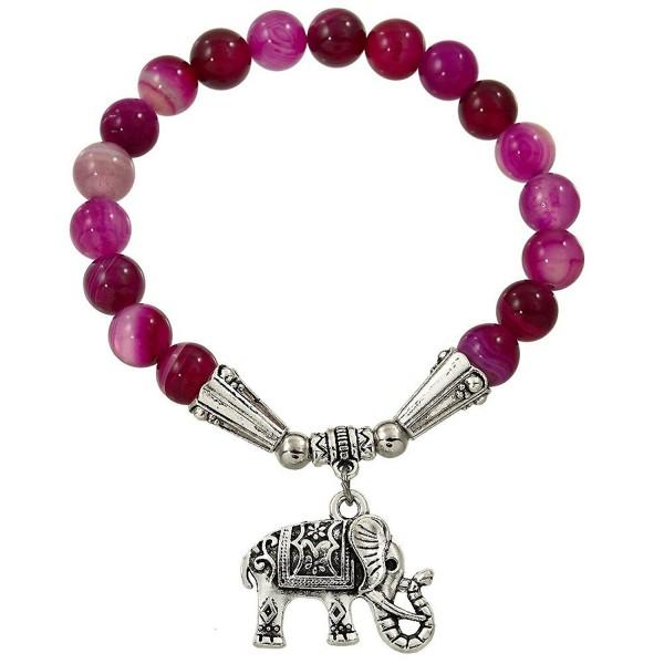 Falari Elephant Lucky Charm Natural Stone Bracelet Fuchsia Agate B2448-FA - CY12F1GJEC9