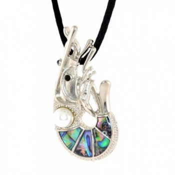 """Marine Life Paua Shell and Faux Pearl """"SHRIMP"""" Pendent- Silk Cord Chain Necklace - C712EQZB65T"""