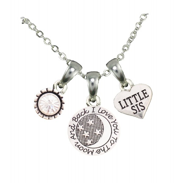 Little Sis Love You To The Moon Silver Chain Necklace Jewelry Sorority Sister - C012BNNLEVD