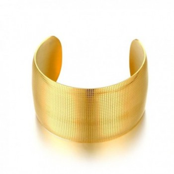 Vnox Fashion 18K Gold Plated Stainless Steel Wide Open Cuff Bracelet for Women Girl-Diameter 55mm - CJ1839KY55W
