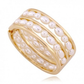 KAYMEN 2 Rows Pearls Good Quality Statement Bangle for Women & Wedding Bracelet - CU120OZZHGT