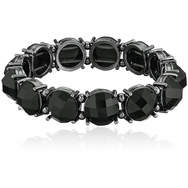 1928 Jewelry Black Faceted Stretch Bracelet - CF11GHHHIRP