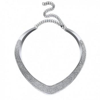 Bridal Wedding Jewelry Crystal Heart Collar Choker Necklace Women Bib Statement - Silver - C217AATOZNT