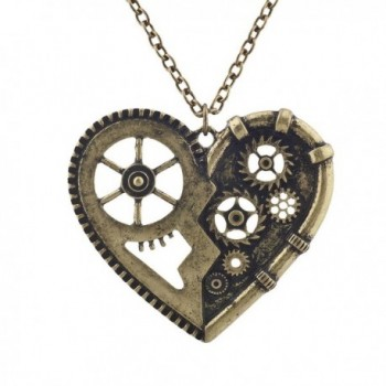 Lux Accessories Burnish Gold Vintage Steampunk Gearwork Heart Charm Necklace - CL184D6AC40