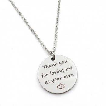 Thank you for loving me as your own mother father Gift step mom dad Gift Stainless Steel Pendant Necklace - C0186IDYHOU