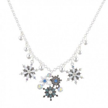 Lux Accessories Silvertone Christmas Xmas Holiday Snowflake Statement Necklace - C012O652BTD