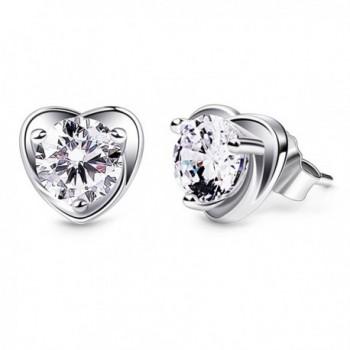 B.Catcher Earring Studs Heart Shape 925 Sterling Silver Cubic Zirconia Heart Stud Earrings Valentines Day Gift - C9189T3DZN3