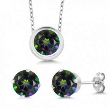 """Sterling Silver Round 6mm Pendant Earrings Set with 18"""" Sterling Silver Chain - C911DI8P8DH"""