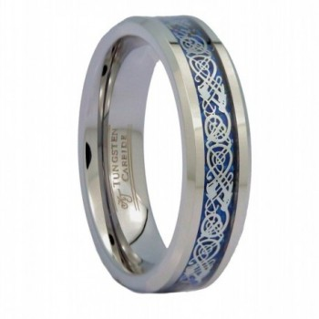 MJ 6mm Blue Celtic Dragon Unisex Tungsten Carbide Ring Wedding Band Ring - CX12O43WQI1
