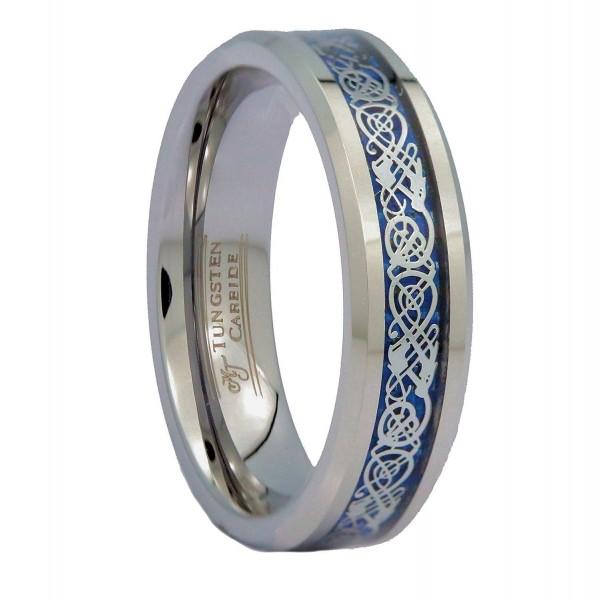MJ 6mm Blue Celtic Dragon Unisex Tungsten Carbide Ring Wedding Band Ring - CX12O43WQI1