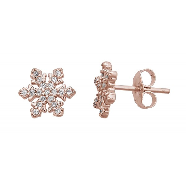Sterling Silver Pave Snowflake Stud Earrings - CN12LPGNRJ5