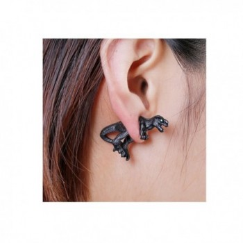 Sexy Sparkles Dinosaur 3D Double Sided Ear Stud Earrings for Women with Green Rhinestones - C412K07YQWR