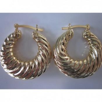 18 Karat Gold Filled 1 Inch Thick Lightweight Shrimp Hoop Earring - CC128HD3FRD