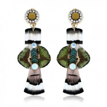 Starshiny Orange Handmade Bohemian Natural Feather Dangling Earrings Fashion Jewelry for Women - Green - CU182GME3XO