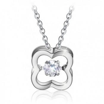 Menton Ezil Twinkling Diamonds Necklace - 925 Sterling Silver (Clover) - C412OBTS079