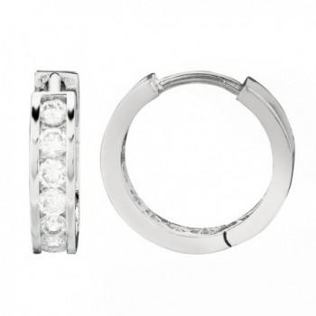 Sterling Silver Channel Set Cubic Zirconia Huggie Hoop Earrings 3x13 Mm - CZ119EZKK3V