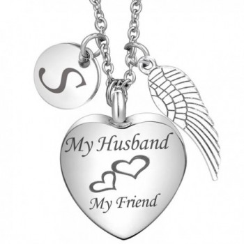Cremation Jewelry My Husband My Friend Urn Necklace Angel Wing Memorial Keepsake Pendant for Ash - Alphabet S - C9185A4S8O6