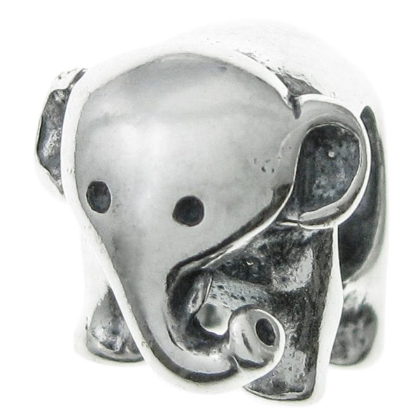 925 Sterling Silver Cute Happy Elephant Bead For European Charm Bracelets - CG11DBO3JDT