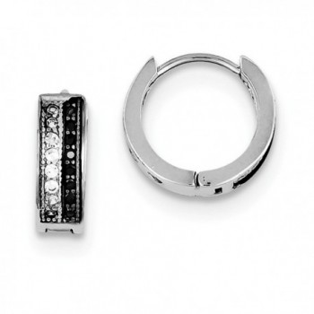 Sterling Silver Synthetic CZ White and Black Hinged 0.4IN Hoop Huggy Earrings (0.5IN x 0.5IN ) - CV11FRSHJ1F