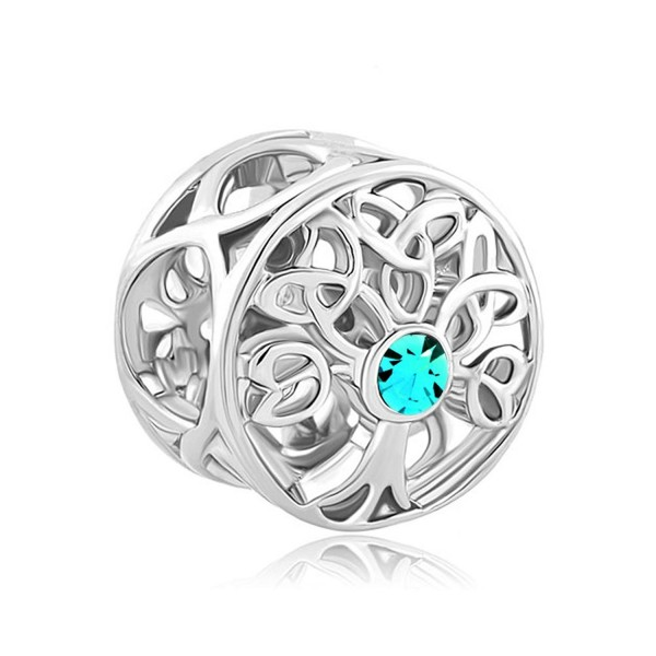 ReisJewelry Celtic Knot Charms Filigree Family Tree Of Life Charm Beads For Snake Chain Bracelet - Peacock Blue - CX184K0SWIA