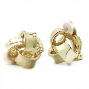 Classic Love Knot Clip On Earrings Gold Plated Women Fashion - CE128691UDT