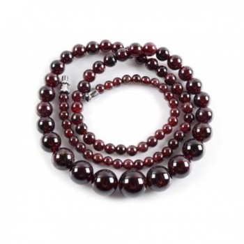 Amandastone 4mm to 10mm Natural Wine Red Garnet Charm Necklace 18'' - C012H2NX1D7