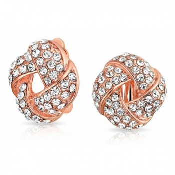 Bling Jewelry Woven Love Knot Crystal Clip On Earrings Rose Gold Plated Alloy - CL11RRZMCTP