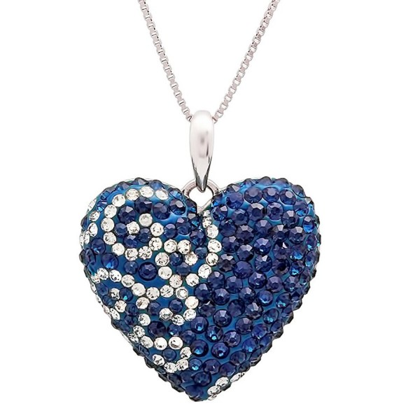 Sterling Silver Heart Pendant made with Blue and White Swarovski Crystals - C511IXACSYV