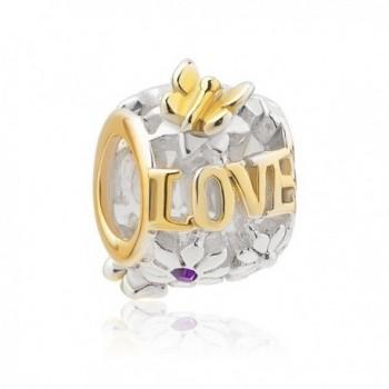 CoolJewelry Sterling Silver Jan-Dec Birthday Flower Charm Butterfly Love Beads For Bracelets - CD17YXNX3AN
