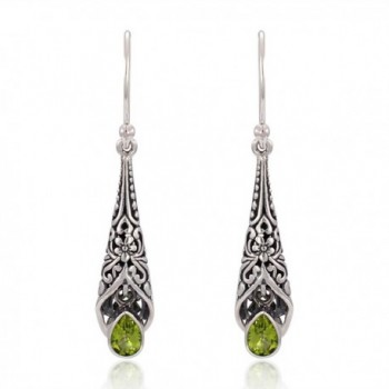 925 Sterling Silver Bali Detailed Filigree Genuine Green Peridot Dangle Earrings-Nickle Free - CH126GZ6URB