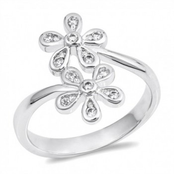 White CZ Plumeria Flower Daisy Ring New .925 Sterling Silver Band Sizes 5-9 - CU187YYSHAH