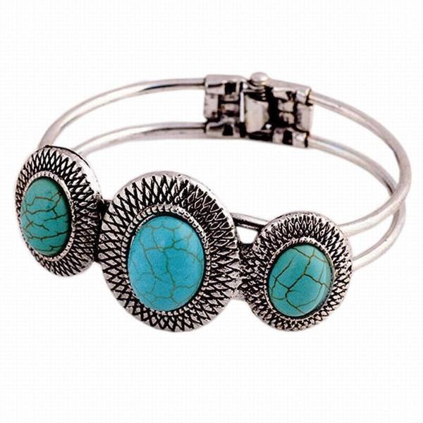 Bolayu Lady Cute Bracelet Turquoise Circle Bohemian Style Retro Plating - CS12L2WJU75