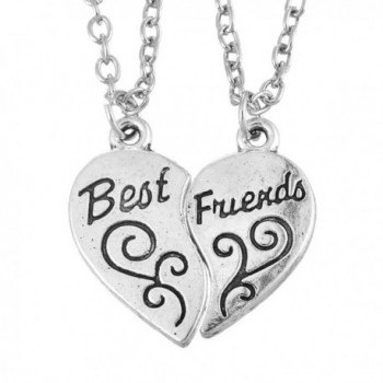 MJARTORIA Best Friend Engraved Split Heart Pendant Necklace Set of 2 - CK12FMLST8X
