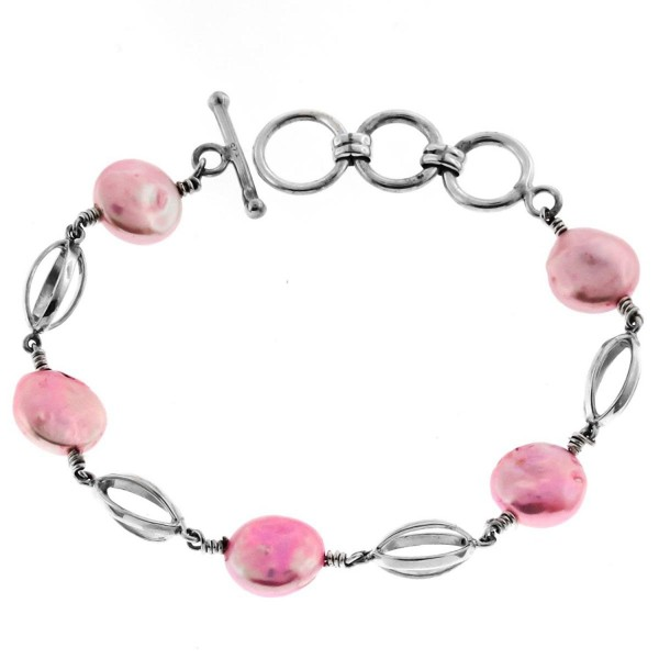 "Pink Freshwater Coin Cultured Pearl 925 Sterling Silver Toggle Bracelet- 6 3/4""-7 3/4"" - C812O886YF8"