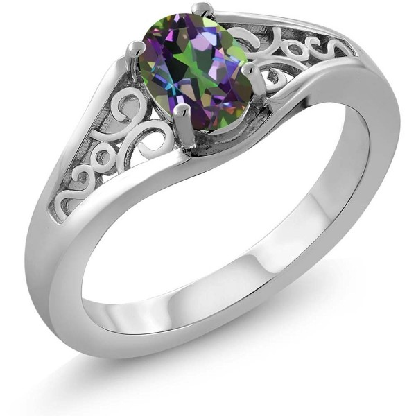 Green Mystic Topaz 925 Sterling Silver Women's Ring (0.80 Cttw- 7X5MM Oval- Available in size 5- 6- 7- 8- 9) - CK115LNGMVJ