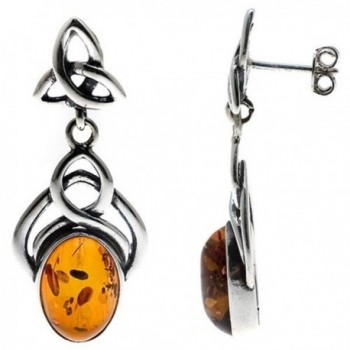Honey Amber Sterling Silver Celtic Knot Stud Large Earrings - CI111A4MH3J