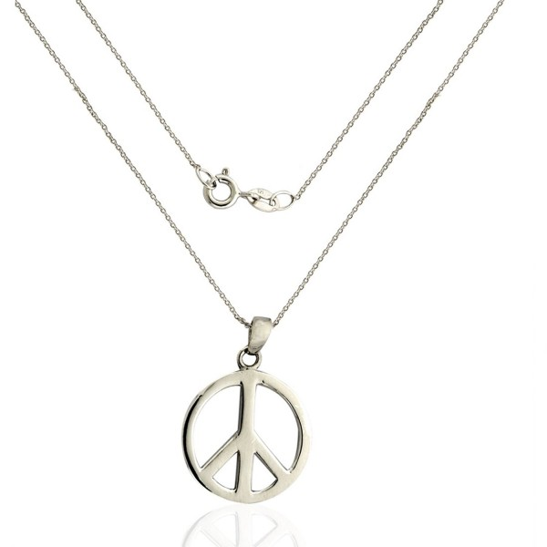 925 Sterling Silver Peace Sign Necklace (Pendant with Chain) - C6120IP7I3Z