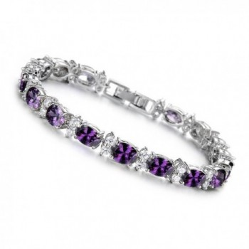 "SDLM Womens Fashion Jewelry Sterling Silver Plated Charm Gemstone Oval Tennis Bracelet.7"" - Purple - CB12NYSYHL3"