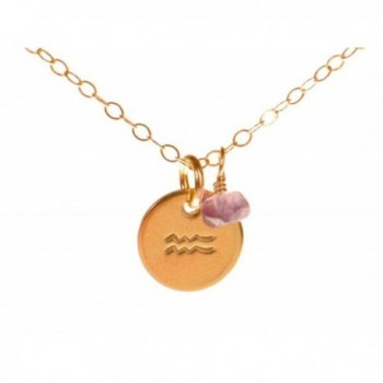 Aquarius Necklace - Tiny Gold Filled Simple Zodiac Sign with Birth Month Charm- Zodiac Pendant - CD11EGL6OAP