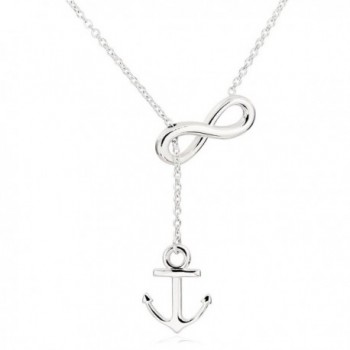 ELBLUVF Newest Stainless steel Silver Plated Anchor Infinity Lariat Y Necklace 18inch For Women 3 Colors - Silver - CO11KBCSVK5