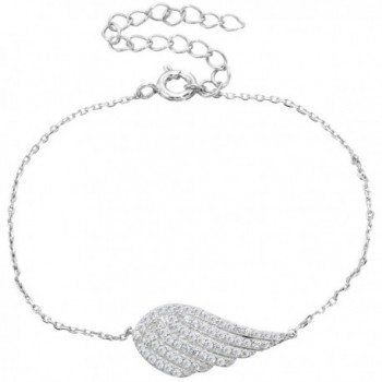 EVER FAITH 925 Sterling Silver Full CZ Angel Wing Feather Adjustable Hand Chain Link Bracelet Clear - CU127ONQS1H
