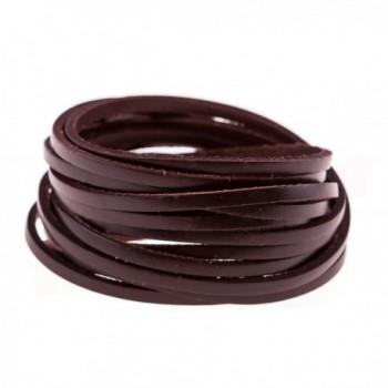 True Heart Style Genuine Leather Wrap Multi-strand 6 Strand Bangle Cuff Bracelet - Chocolate Brown - CQ11X1UNCVR