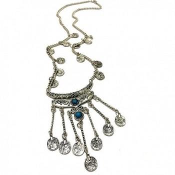 BESSKY Ethnic Tribal Turkish Gem Tassel Pendant Coins Vintage Necklace - C4126NGPENJ