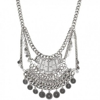 Lux Accessories Tribal Western Boho Burnish Silver Coin Statement Necklace - CF12LQ58XK3