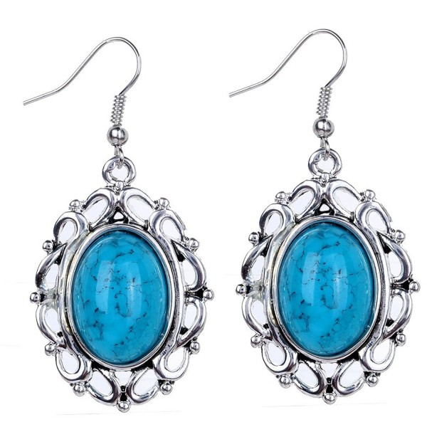 YAZILIND Vintage Blue Oval Dangle Drop Hook Earrings Women Gift - CG11NXHDGT1