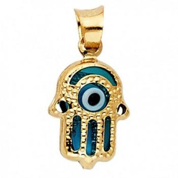 14k Yellow Gold Evil Eye Hamsa Pendant - C2125FGMEI1